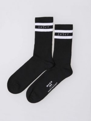 Edwin x Democratique Socks Black 1575-1300-1536155118-ue-classic-tube-socks-black