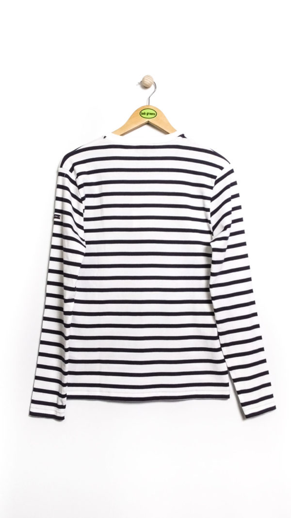 Armor Lux LS Striped Cotton Shirt - White Navy [Back]