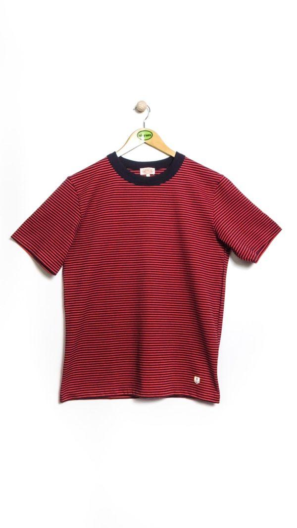 Armor-Lux MC Rayé Héritage T-Shirt - Navy/Red