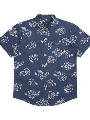 Brixton Charter Print S/S Woven Shirt - Navy/Off White
