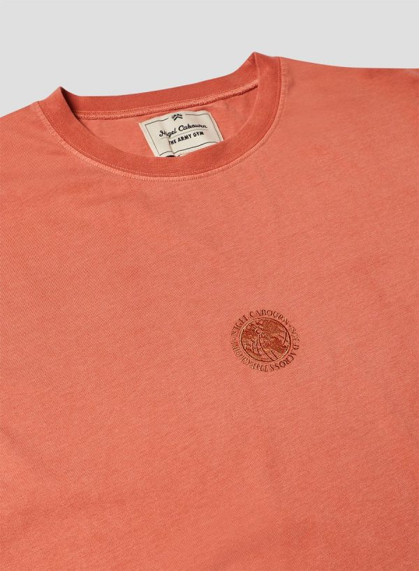 Nigel Cabourn Embroidered Logo Tee - Vintage Orange