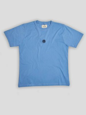 Nigel Cabourn Embroidered Logo Tee Washed Blue
