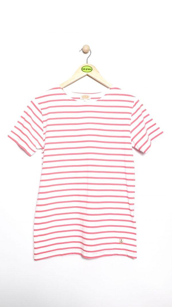 Armor-Lux Breton Stripe T-shirt - White/Crew pink