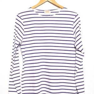 Armor-Lux Breton Stripe Long Sleeve Top - White/Violet