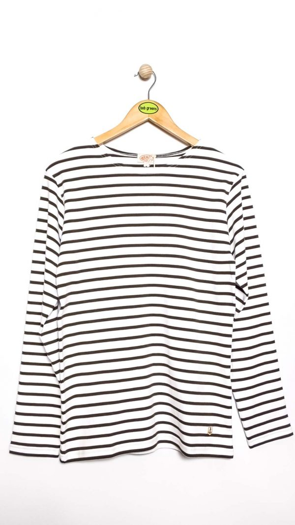 Armor-Lux Breton Stripe Shirt - White/Green Aquilla