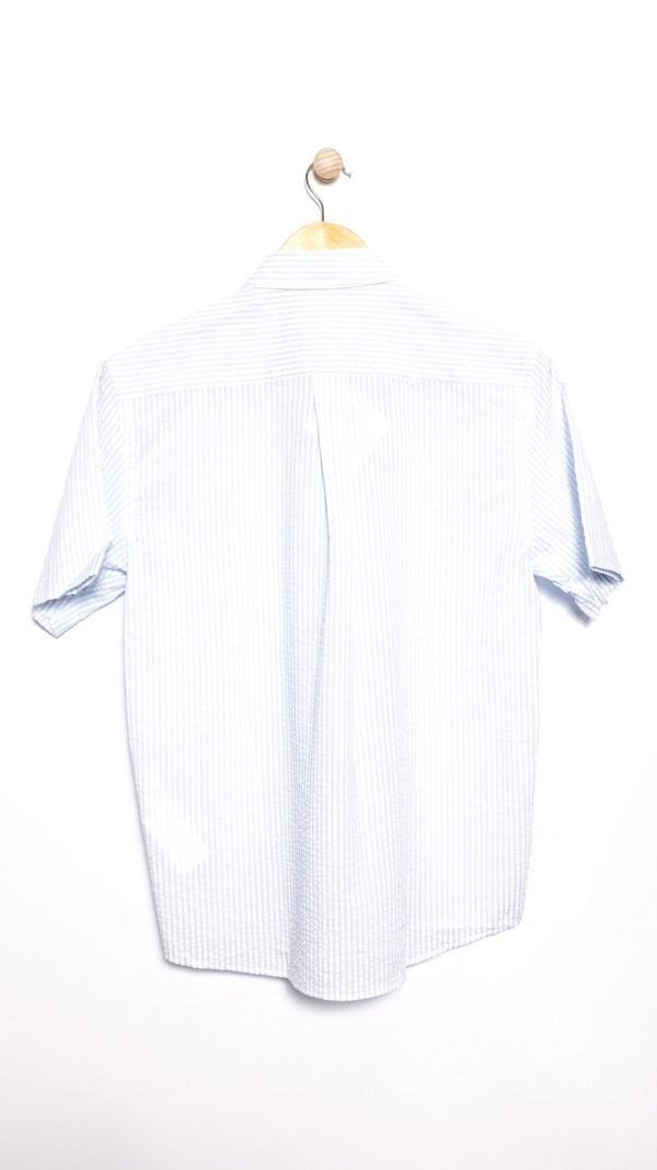 Armor-Lux Heritage Crinkle Cotton Shirt - White/Moody Blue