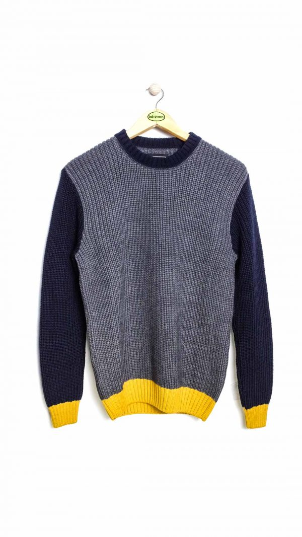 Edwin Line Sweater - Grey Navy Gold