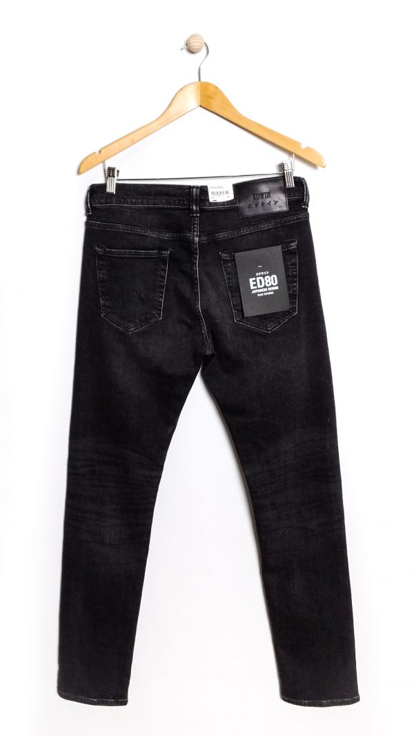Edwin ED-80 CS Ayano Black Denim Kioko Wash 11.8oz