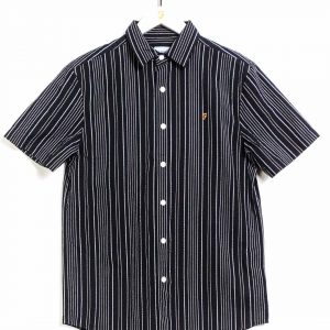 Farah Galena Seersucker Stripe S/S Shirt - True Navy