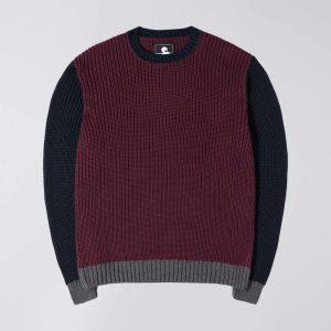 Edwin Line Sweater - Dark Purple Navy Grey Heather