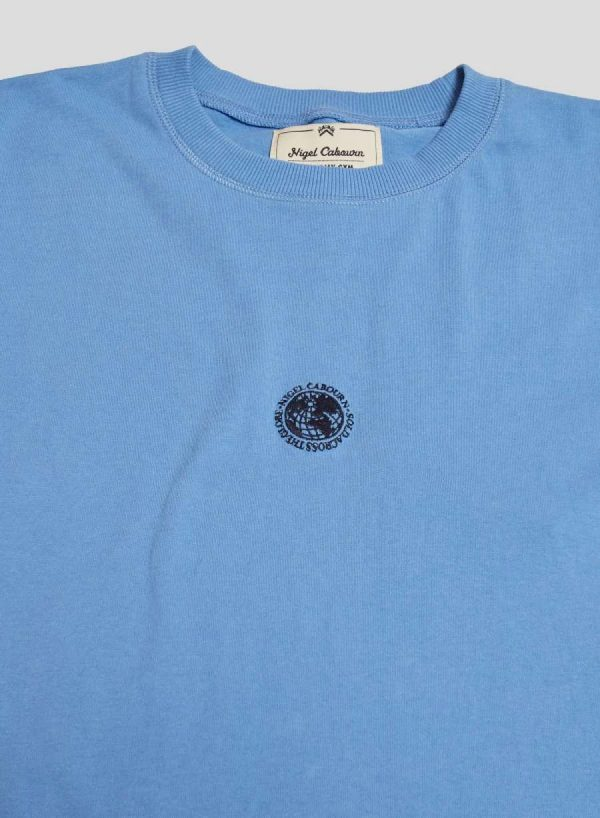 Nigel Cabourn Embroidered Logo Tee - Washed Blue