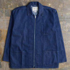 Uskees Zip Front Denim Overshirt - Rinsed Denim