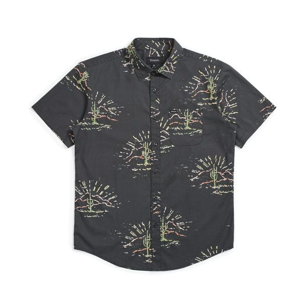 Brixton Charter Print S/S Woven Shirt - Washed Black